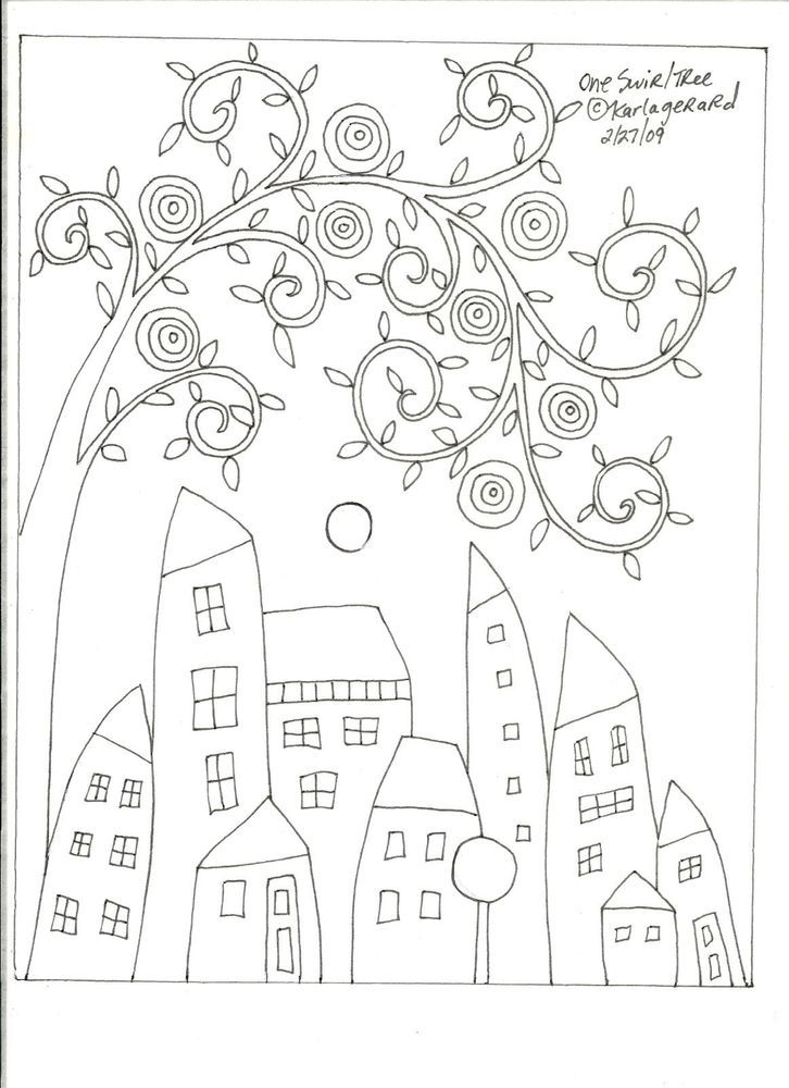 RUG HOOK CRAFT PAPER PATTERN One Swirl Tree FOLK ART ABSTRACT houses KARLA G #KarlaGerard