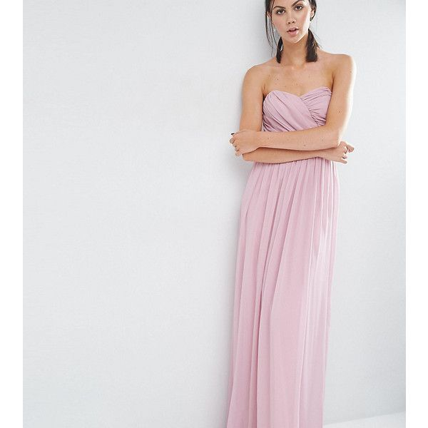 ASOS TALL Chiffon Bandeau Maxi Dress (56 AUD) ❤ liked on Polyvore featuring dresses, pink, tall maxi dresses, chiffon dresses, bandeau maxi dresses, pink ruched dress and pink maxi dress