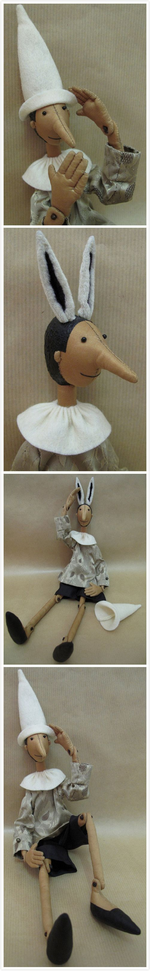 Pinocchio OOAK fabric puppet doll by FRENCH TOUCH COUTURE