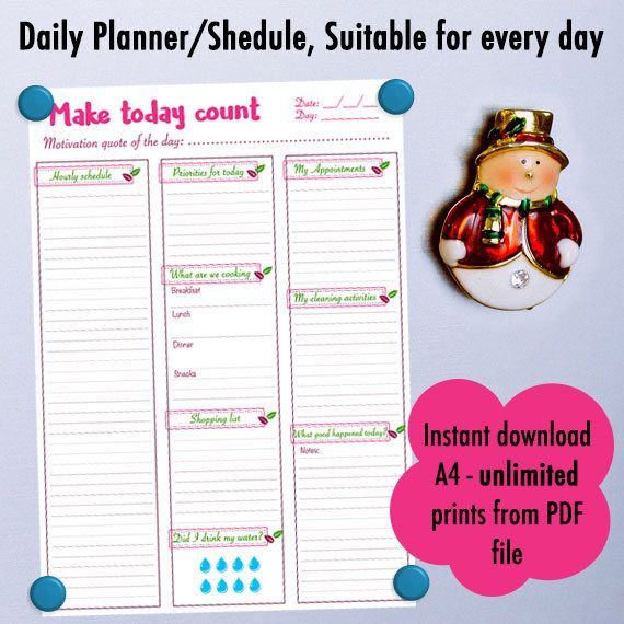 Check this new Daily planner ready for Instant download. #papergoods #planner #schedule #pink #green #valentinesday #dailyschedule #organizer