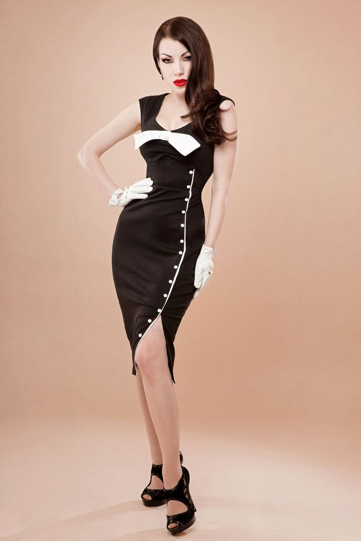 pin up rockabilly black and white wiggle dress by hola chica clothing take off the white bow. Black Bedroom Furniture Sets. Home Design Ideas