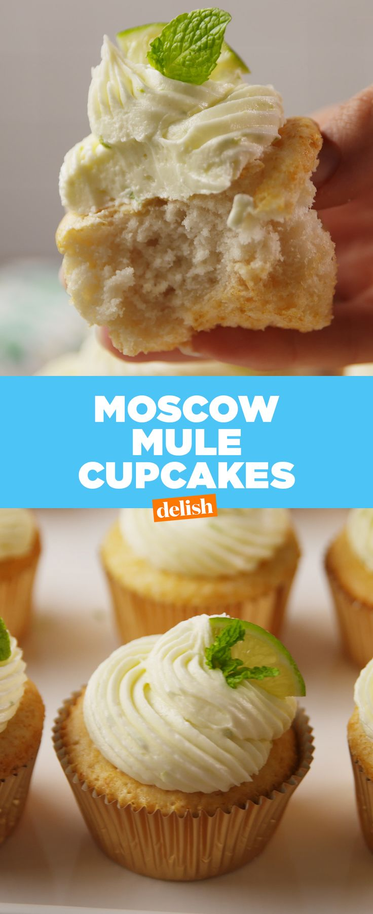 Moscow Mule fans, how many of these cupcakes are you throwing back?! Get the recipe at Delish.com.