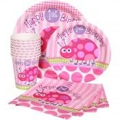Ladybug 1st Birthday Pink Express Party Package for 8