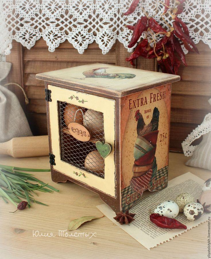 """Купить Шкафчик для яиц """"Кантри"""" - оранжевый, Шкафчик, куры, для яиц, петухи, пасхальный декор"""