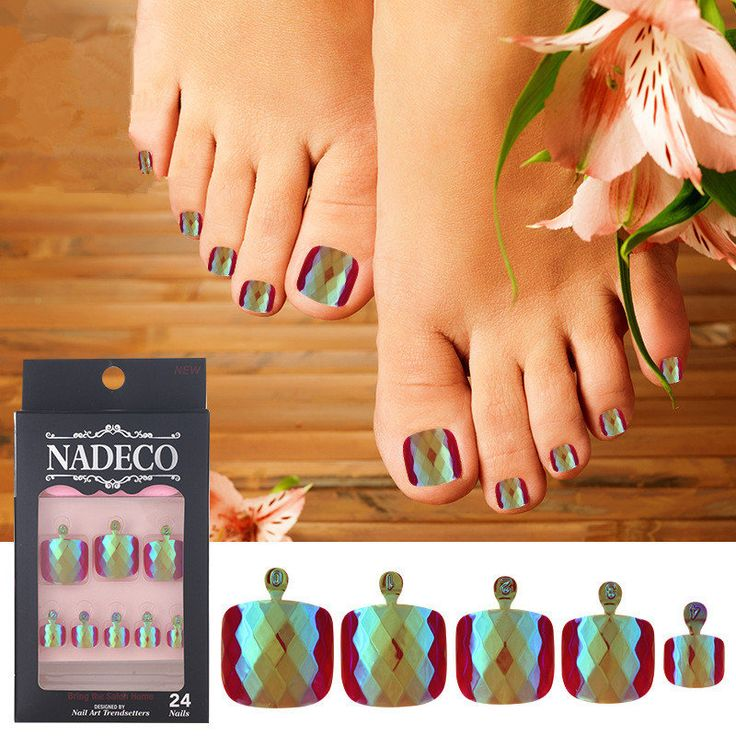 NADECO Mermaid Toe Nail Tips 24Pcs Chrome Diamond Rhombus Face Square Short Length Nails online - NewChic