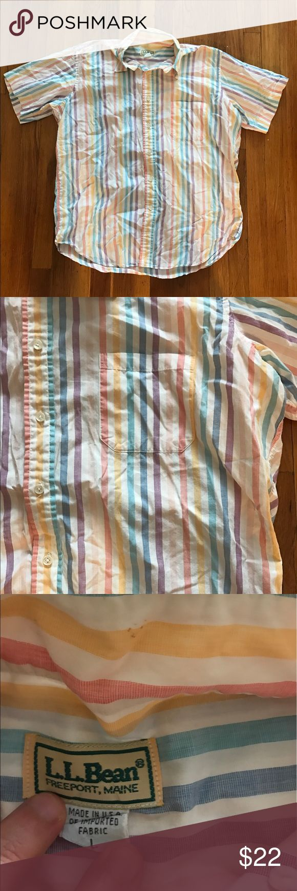 LL Bean Men's Striped Short sleeve Retro shirt L Nice shirt! One small stain pictured, I haven't tried to remove it. A bit wrinkled from storage. Otherwise good used condition. L.L. Bean Shirts Casual Button Down Shirts