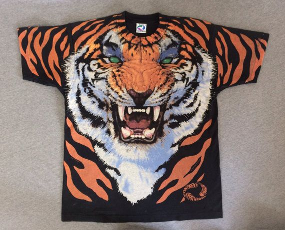 TIGER Shirt 1995 Vintage/ Liquid Blue All-Over by sweetVTGtshirt