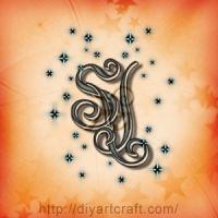 monogramma maiuscole SV con scintille
