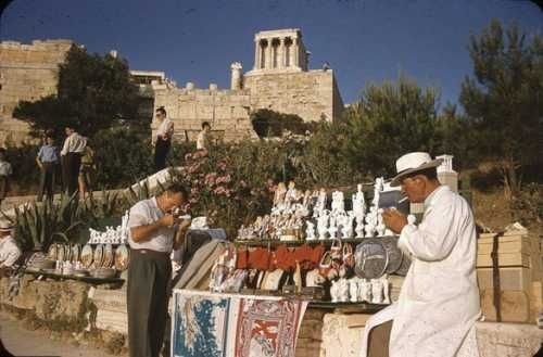 Athens. Acropolis, touristic attractions, 1960