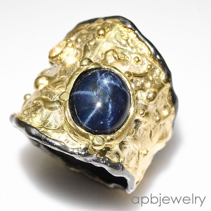 Fine art Natural Blue Star Sapphire 925 Sterling Silver Ring Size 8.25/R27303 #APBJewelry #Ring
