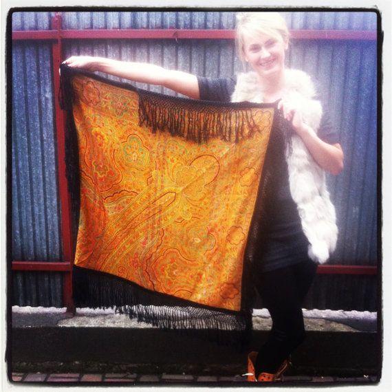 Large Vintage Folk Boho Orange Black Scarf with by KultomaniA, $25.00