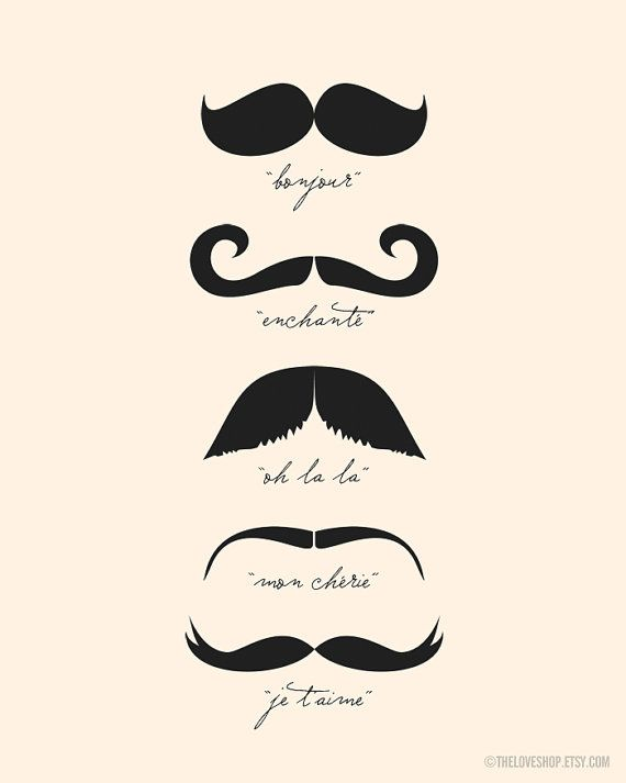 Monsieur Moustache French 8x10 Inch Print On A4 In