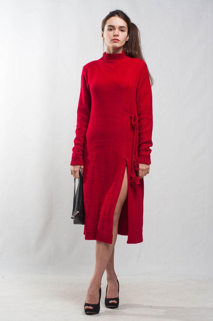 Red wrap dress midi cocktail dress evening oversize dress scarlet crochet wrap dress formal midi wraparound  knit dress office knit dress by CrochetDressTalita on Etsy