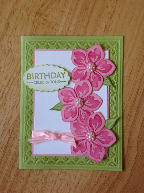 Stampin Up Happy Birthday card - pink flowers