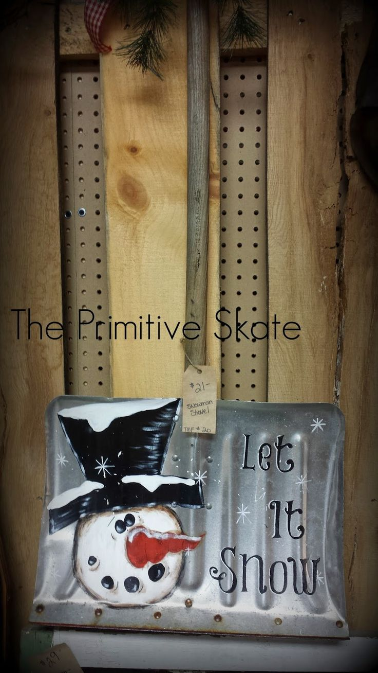 The Primitive Skate: Painting up some Snowmen... I think I like this better than shoveling snow, the other use for a snow shovel.