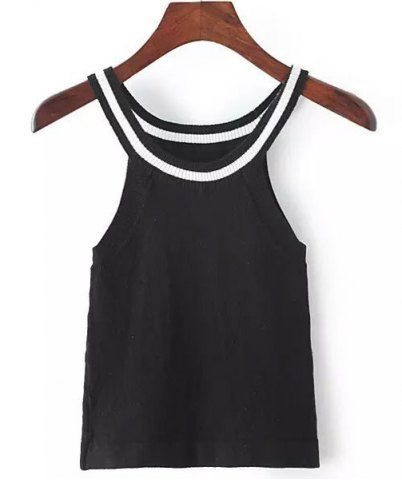 Simple Black and White Stripe Round Neck Sleeveless Slimming Women's Knitwear #Black_and_White #Stripe #Knitwear #Tank_Top #Summer_Tank_Tops