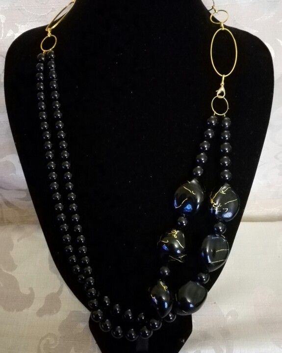 Black and gold chain statement necklace