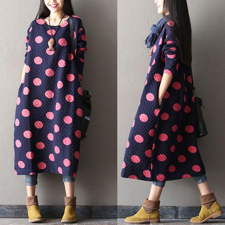 Women Cotton large size blue long sleeve winter and autumn maxi dress - Tkdress - 1