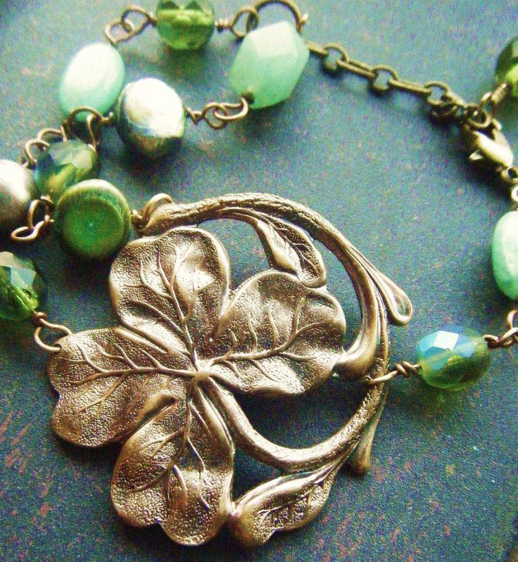 Four Leaf Clover Bracelet -Romantic, Irish, Scottish, Celtic, Wedding, Art Nouveau, Antique Style Good Luck Filigree by PhenomenaJewelry on Etsy https://www.etsy.com/listing/98036296/four-leaf-clover-bracelet-romantic-irish