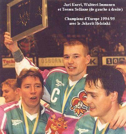 Jokerit players Jari Kurri, Waltteri Immonen and Teemu Selänne celebrating their team's European Cup win.