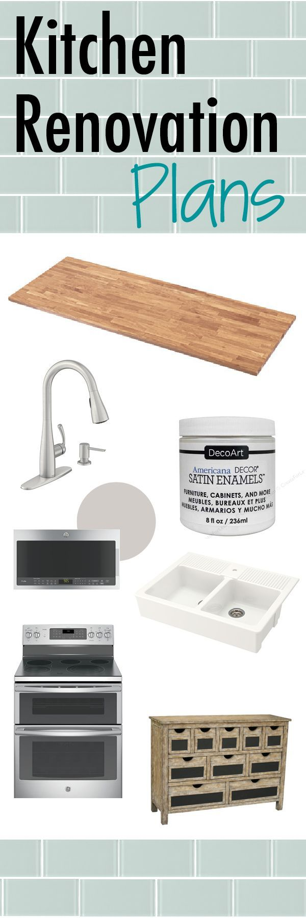 I am about to refresh my kitchen and I thought I would share my renovation plans as part of the one room challenge. I'm going to be painting cabinets, installing butcher block countertops, removing backsplash, tiling backsplash, installing a farmhouse sink and replacing appliances. Stop by to see what I have in mind for a design.