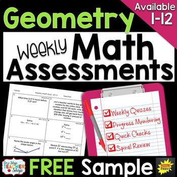 These spiral MATH ASSESSMENTS are perfect for weekly math quizzes, quick checks, progress monitoring, and spiral review.  This FREE sample of my math assessments are perfectly aligned with my TOP-SELLING Math Homework resource. Always know how your students are progressing in math!This Geometry Math Quiz resource Includes2 FREE weeks of Common Core aligned math assessmentsCovers the FIRST 2 WEEKS of Geometry!
