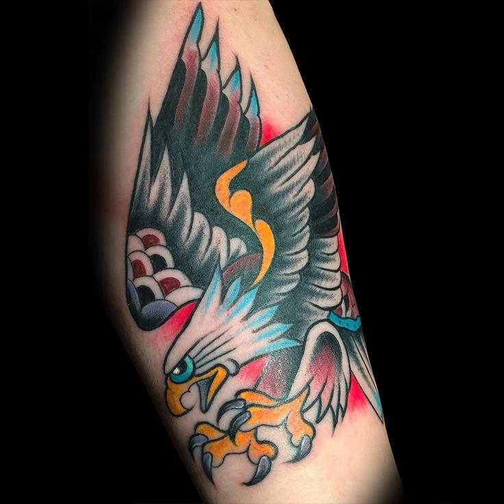 Traditional Eagle made by ANDREA MAGRASSI on Giacinto's arm. #traditional #tattoo #traditionaltattoo #ArtOfCamden #ArtOfCamdenTattooShop #AOC #Camden