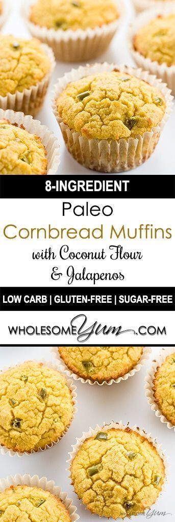 Paleo Cornbread Muffins (Coconut Flour Muffins) with Jalapeños - These low carb, paleo cornbread muffins with jalapeños are a new way to look at coconut flour muffins. So easy and so good, with only 8 common ingredients!