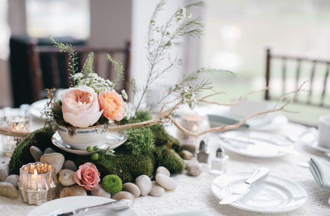 Green succulent table party centerpiece