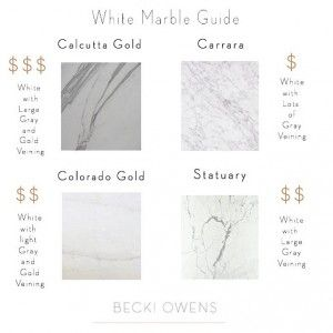 White Marble Guide. White Marble Pricing Guide. White Marble Price. Comparing price of white marble. Calcutta Gold Marble price. Carrara Marble price. Colorado Gold Marble price. Statuary Marble price. #WhiteMarblePrice #WhitemarbleGuide Becki Owens.