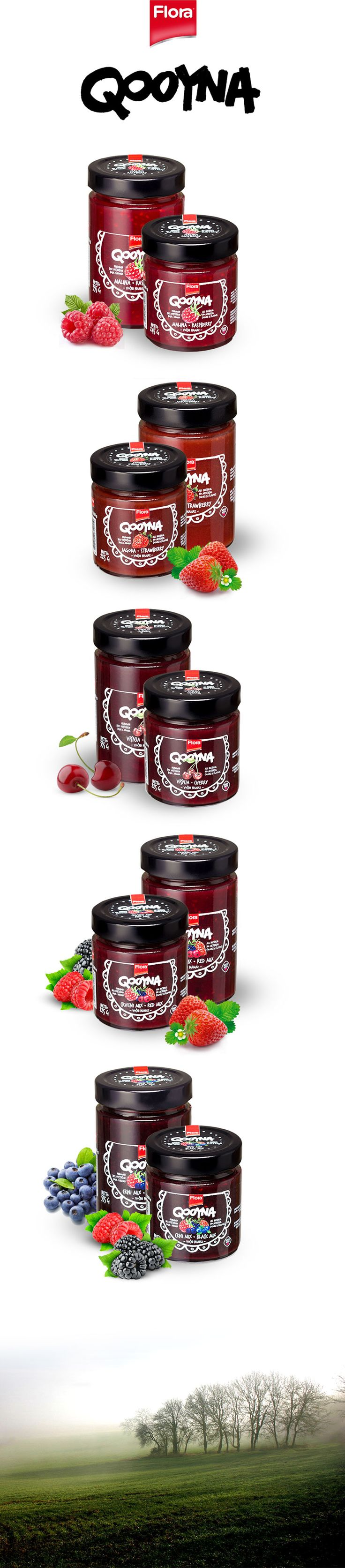 Qooyna Confitures by Flora by Marko Vajagic, Belgrade, Serbia   Packaging design on Behance PD