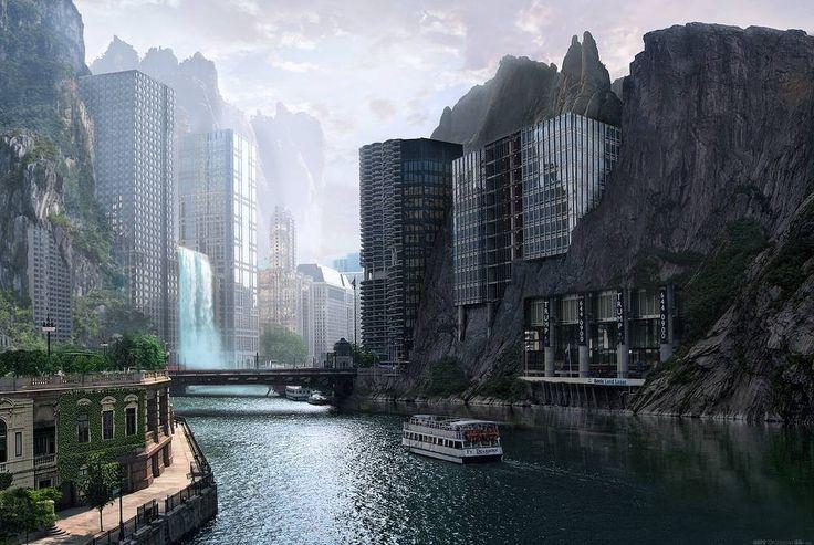Futuristische Stadt.
