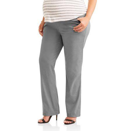 176f06d91f5 Oh! Mamma Maternity Plus-Size Full Panel Classic Stretch Twill Straight Leg  Career Pants - Walmart.com