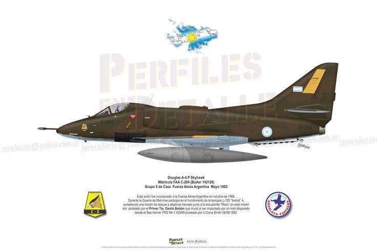 Douglas A-4 P Skyhawk Matrícula FAA C-204 (BuAer 142126) Grupo 5 de Caza – Fuerza Aérea Argentina – Mayo 1982