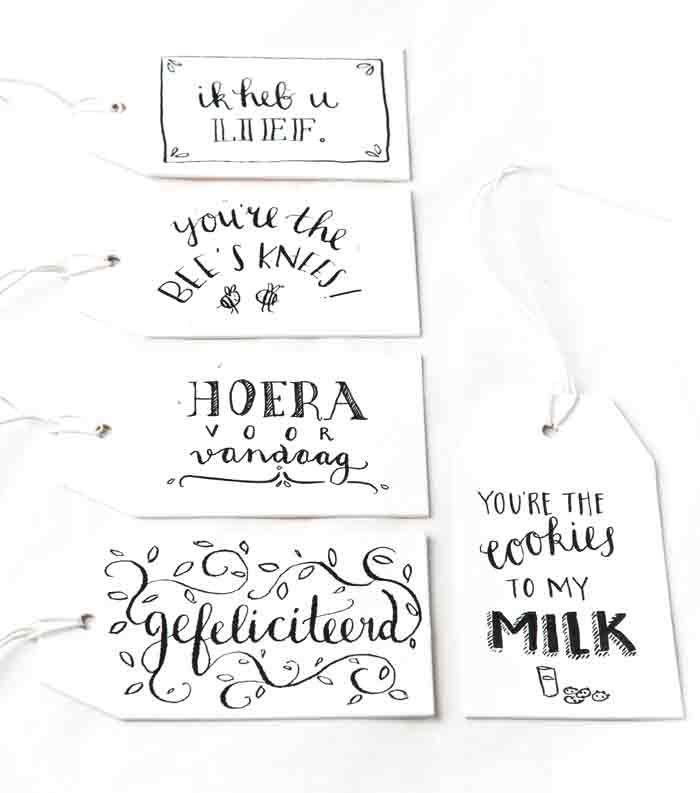 Gifttags, labels: Illustrator Marloes de Vries het PapierAtelier @ ShowUP. Seen on HappyMakersBlog.com. Photo: BloomInspiration