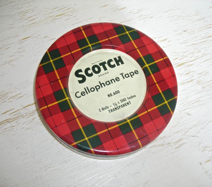 scotch tape tin with plaid lid - metal box held 2 rolls of cellophane tape - urban industrial storage - retro mad men office decor by shesitsbytheseashore on Etsy