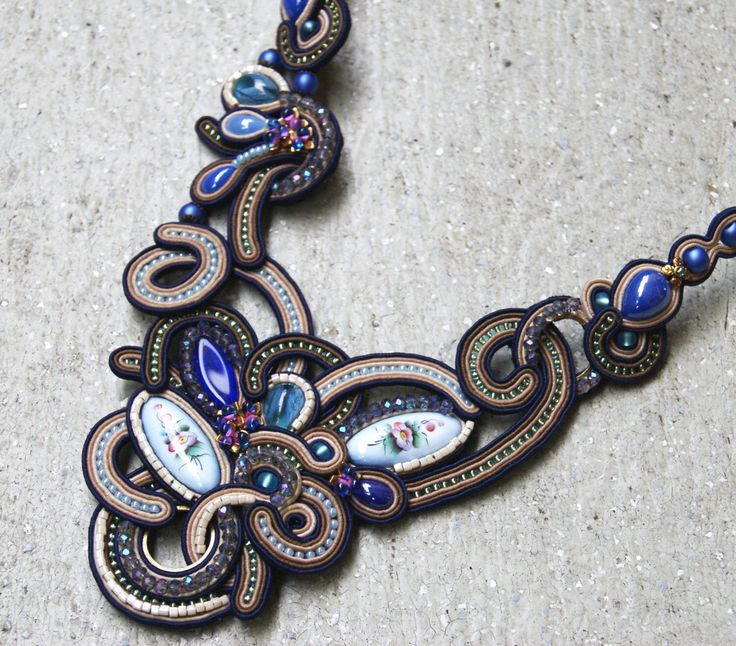Soutache Necklace / Rostov finift, creme, brown, navy blue / by BeadsRainbow on Etsy https://www.etsy.com/listing/233077428/soutache-necklace-rostov-finift-creme