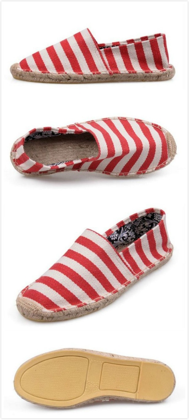 Striped Toms Shoes Women Red And White
