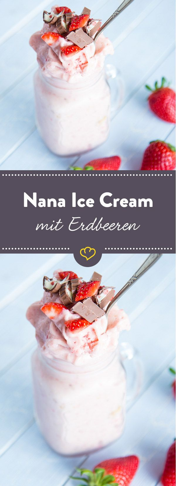 Im Mixer ist der Sommer bereits angekommen: Dort dreht sich alles um rosa rote Nana Ice Cream aus gefrorenen Bananen und Erdbeeren. Pur und schnell gemacht.