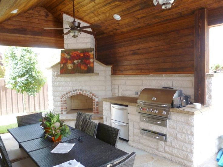 Terrific Outdoor Kitchens Mckinney Texas With Travertine Stone Cladding For  Outdoor Fireplace And Abstract Painting For