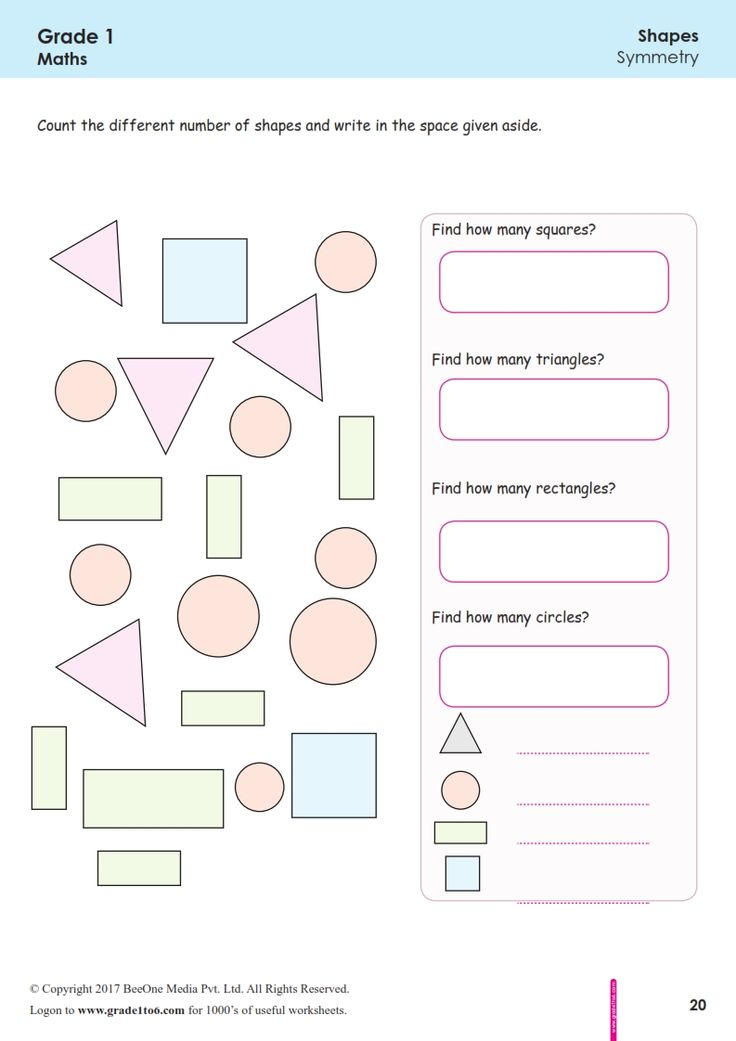 Worksheet Grade 1 MathCounting Similar Shapes in 2020