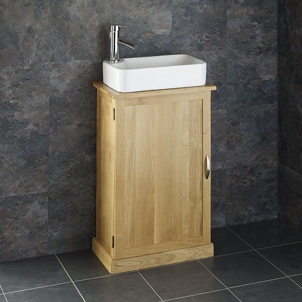 Rectangular Basin With Solid Oak Space Saving 50cm Wide By