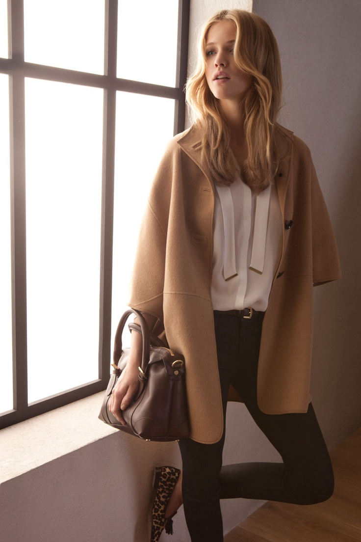 Camel coat and jeans: