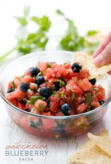 A refreshing twist on salsa!Olive Oil, Blueberries Watermelon Salsa, Watermelon Appetizers, Blueberries Appetizers, Summer Parties, Watermelon Blueberries Salsa, Food Recipe, Cinnamon Chips, Watermelon Salsa Recipe