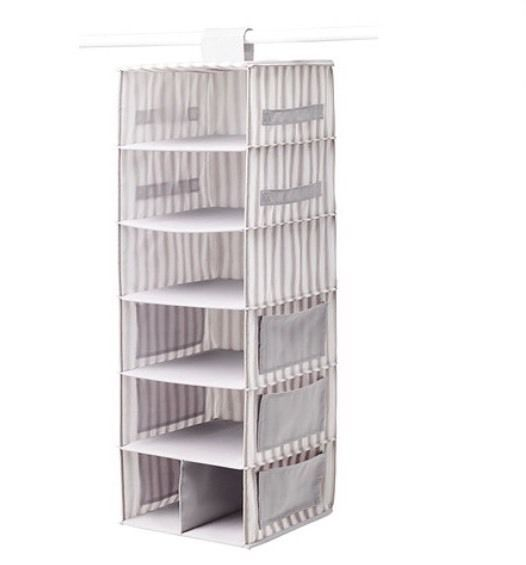 Ikea Svira Hanging Storage, 7 Compartments, Grey/White Stripes, BNWT  For dirty clothes