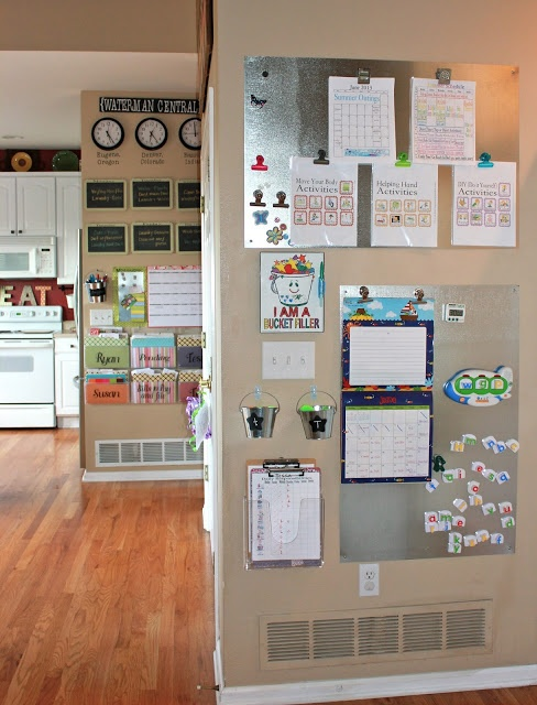 Achieving Creative Order: {Achieving} A Kids' Command Center: like the simple idea of the metal sheets.