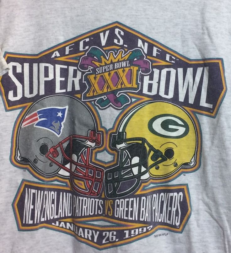 1997 Super Bowl XXXI New England Patriots VS Green Bay Packers #Tultex #GraphicTee