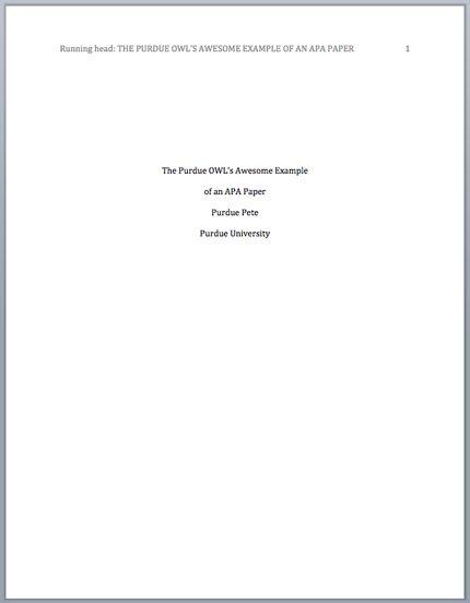 Apa Lab Report Title Page