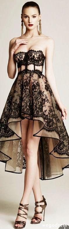Cristina Savulescu AW 2015 2016                                                                              black lace over cream, peekaboo couture dinner dress