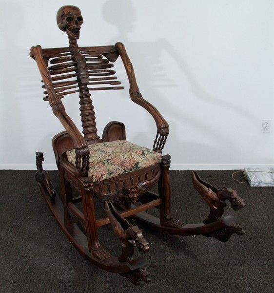 Memento mori mid 19th century skeleton rocking chair for Steam punk chair